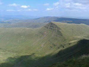 View from the summit of Pen y Fan with Cribyn in the foreground